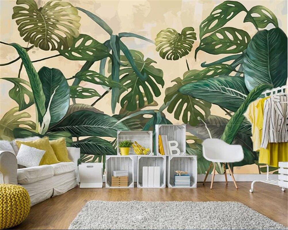 beibehang Retro fashion silk cloth wallpaper tropical rain forest palm banana leaf living room TV background wall 3d