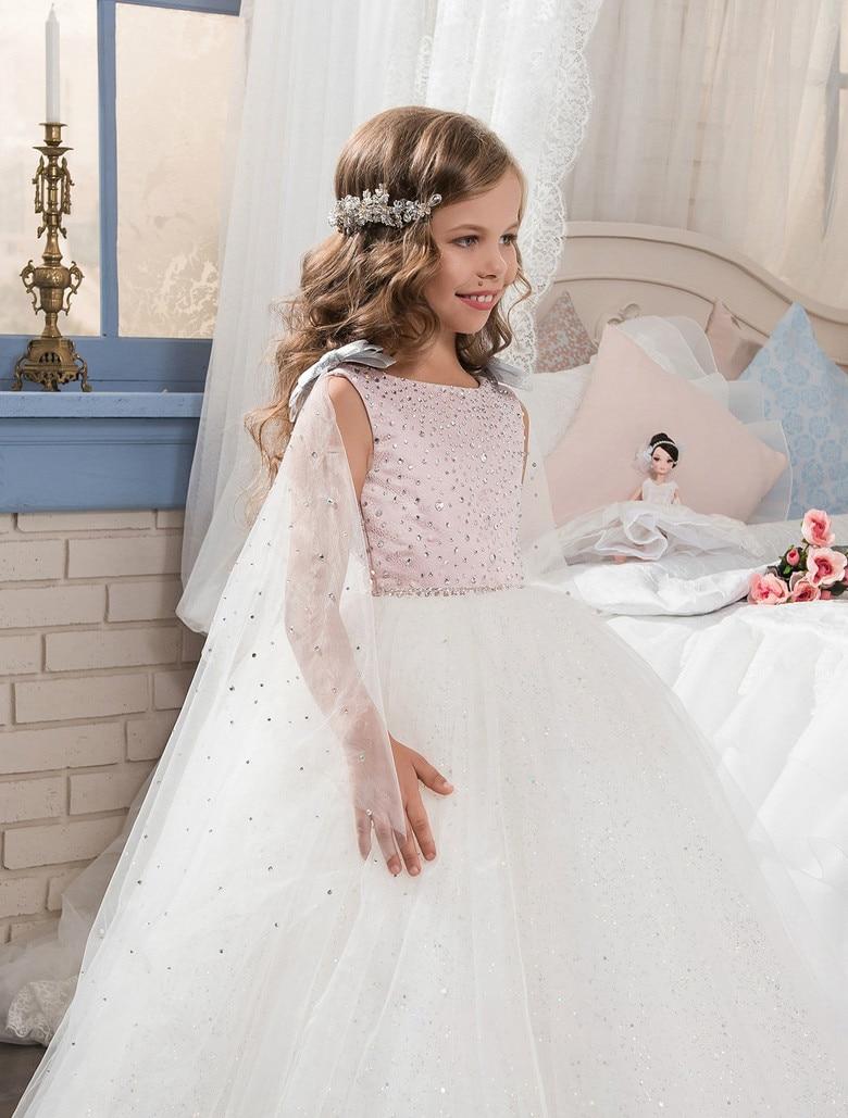 все цены на Luxury Shiny Flower Girl Dresses Ball Gown O-neck Beaded Tulle First Communion Dresses for Girls онлайн