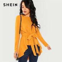 SHEIN Ginger con cinturón propio dobladillo asimétrico Top Casual manga larga cuello redondo blusas mujeres otoño elegante Oficina señoras blusa