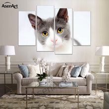 4 Panel Cute Modern Pictures Kitty Cat Dog Oil Painting For Bedroom Home Decoration Wall Art Canvas Prints Unframed(China)