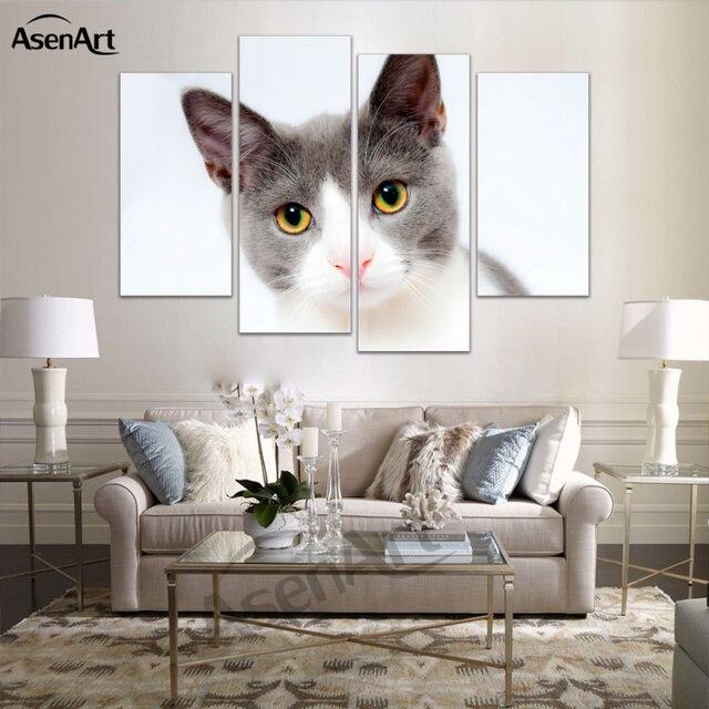 4 Pannello Carino Quadri Moderni Gattino Gatto Cane Pittura A Olio ...