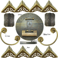 Chinese Brass Lock Set For For 100 150cm Large Wooden Box,Vase Buckle Hasp Latch Lock+ Hinge+Corner+Handle,Bronze Tone