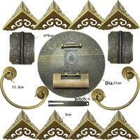 Chinese Brass Lock Set For For 100 150cm Large Wooden Box,Vase Buckle Hasp Latch Lock+ Hinge+Corner+Handle,Bronze Tone