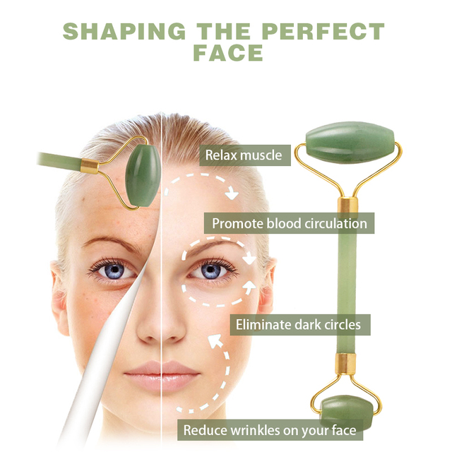 Natural Double Head Facial Massage Roller jade Beauty Tool  1