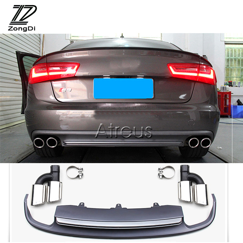 1Set Car Exhaust Tips Muffler Pipe With Rear Bumper Diffuser For Audi A6 C7 Accessories 4