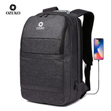 OZUKO Multifunction Men Backpack USB Charging Male 15.6 Inch Laptop Backpacks Large Capacity Business Travel Bag Water Repellent(China)