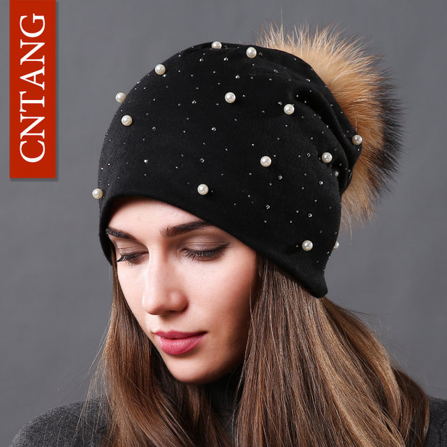 CNTANG 2018 Women's Fashion Hat Autumn Winter Rhinestones Pearl Hats Female Beanies Natural Raccoon Fur Pompom Cotton Warm Caps