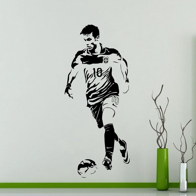 DCTAL Football Player Sticker Sports Soccer Decal Helmets Kids Room Name Posters Vinyl Wall Decals Neymar Football Sticker
