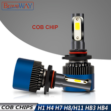 BraveWay Car LED Bulb for Motorcycle H4 H7 H11 Led Lights Auto Lamps BH4 HB3 9005 9006 Fog H1 Headlight 6500K