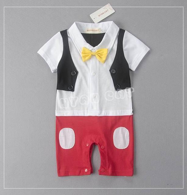 78dd81b51521 Retail Baby Boys Rompers Cartoon Mouse Bow Dots Tuxedo Short Sleeve ...