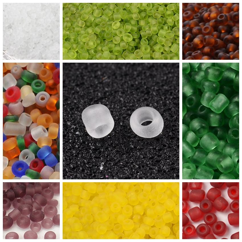 450g 2/3/<font><b>4mm</b></font> Frosted Round <font><b>Glass</b></font> Little Micro Jewelry Making DIY Seed <font><b>Beads</b></font> 6/0 8/0 12/0 image
