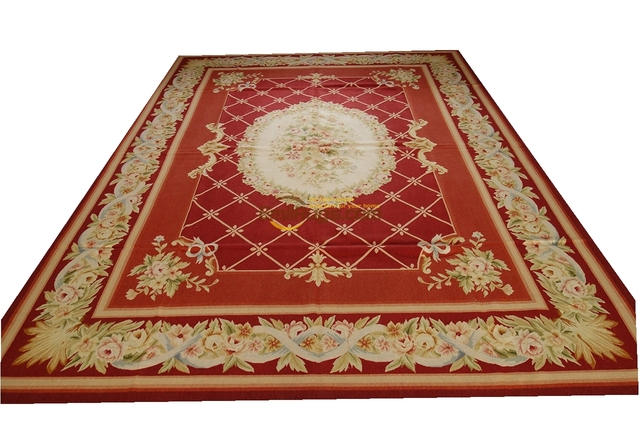 529red 6x9 9x12 So Beautiful Handmade French Aubusson Design Gorgeous Needlepoint Rug Gc8aubyg13