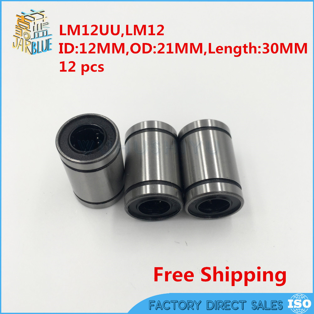 NEW 12 Pcs LM12UU 12mm Linear Ball Bearing Linear Bushing CNC Parts Linear Bearings LM12