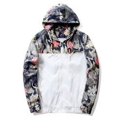 Цветочный куртка осень 2018 г. мужские куртки с капюшоном Slim Fit длинным рукавом Homme мода ветровка пальто брендовая одежда Прямая доставка