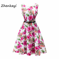 2017Women Dress Retro Vintage 1950s 60s Rockabilly Floral Swing Summer Dresses Elegant Bow Knot Tunic Vestidos