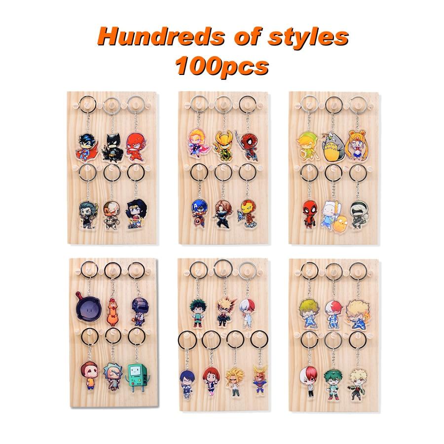 100 unids/lote cientos de estilos clave cadena llavero de acrílico de alta calidad de Chibi Anime clave colgante Accesorios - 6