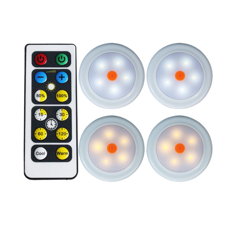 4PCS 5 LEDs Night Light With Remote Control Wireless Puck Light Wall Lamp Light For Closet AA Battery Power keyshare dual bulb night vision led light kit for remote control drones