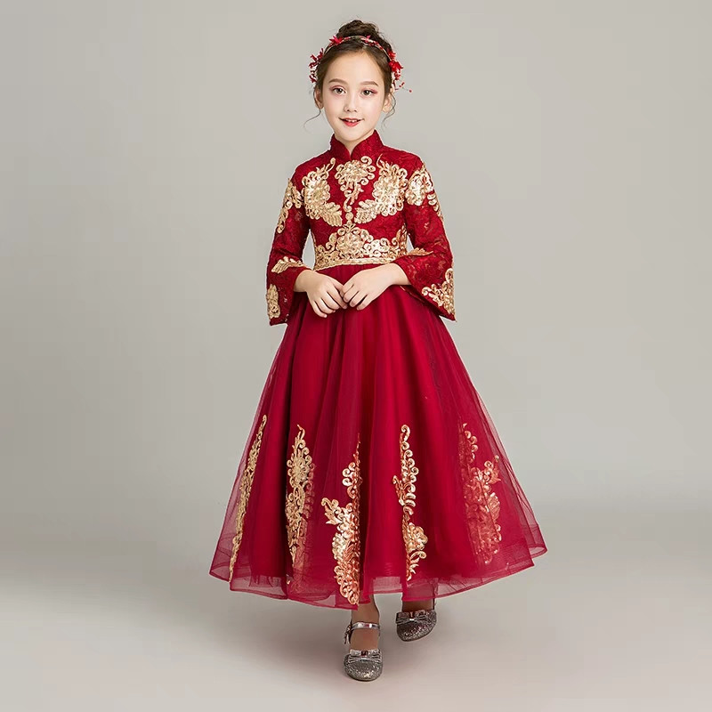 2019 Autumn Winter New Children Girls Chinese Embroidery Lace Standing-Collar Birthday New Year Dress Baby Kids Evening Dress  2019 Autumn Winter New Children Girls Chinese Embroidery Lace Standing-Collar Birthday New Year Dress Baby Kids Evening Dress