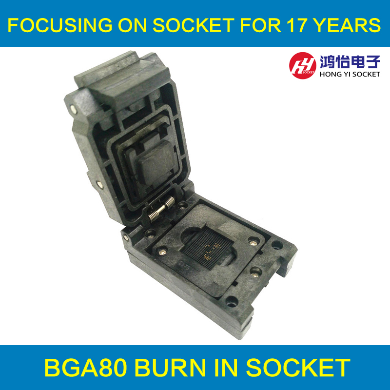 BGA80 Clamshell burn in socket pitch 0.8mm IC size 7*9mm BGA80(7*9)-0.8-CP01NT BGA80 VFBGA80 burn in programmer socket bga80 open top burn in socket pitch 0 8mm ic size 7 9mm bga80 7 9 0 8 tp01nt bga80 vfbga80 burn in programmer socket