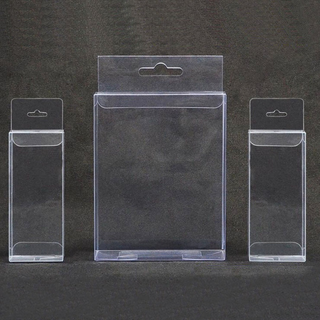 58a12d56a28 30pcs lot 30 Sizes PVC Clear Plastic Packaging Boxes with Hanging Hole  Crafts Gift Display