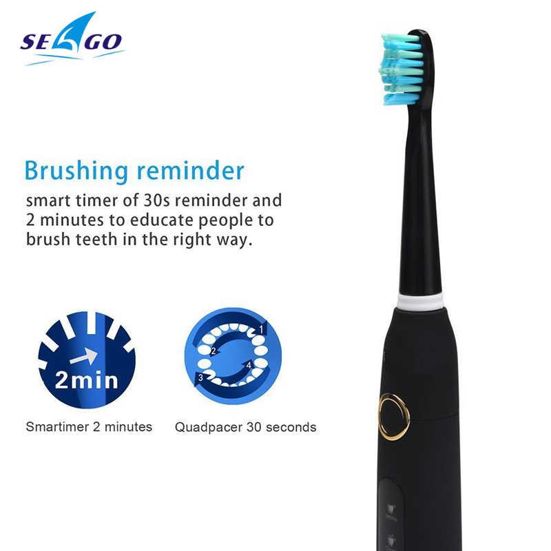 をseago音波電動歯ブラシSG-507大人タイマーブラシ5モードusb充電器充電式歯ブラシの交換ヘッドセット
