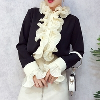 ALPHALMODA Spring New Fashion Shirts Single Breasted Double Ruffled Details Flare Lace Sleeve Women Elegant Bottom
