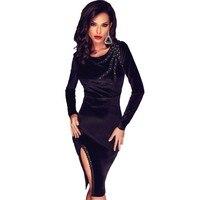 Black Long Sleeve Midi Dress 2016 New Women Velvet Dress Fabric Scalloped Slit Slim Pencil Autumn
