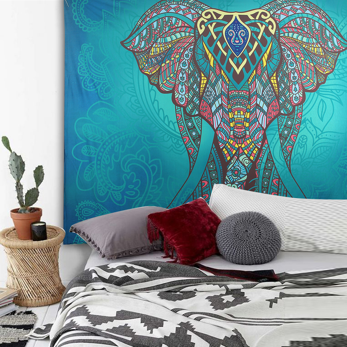 Elephant Mandala Tapestry Throw Towel Hippie Tapestry Floral Printed Home Decor Wall Tapestries Bedspread 210*150CM 9