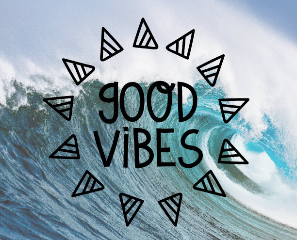 good vibes geometric triangle wall decal stickers window poster car