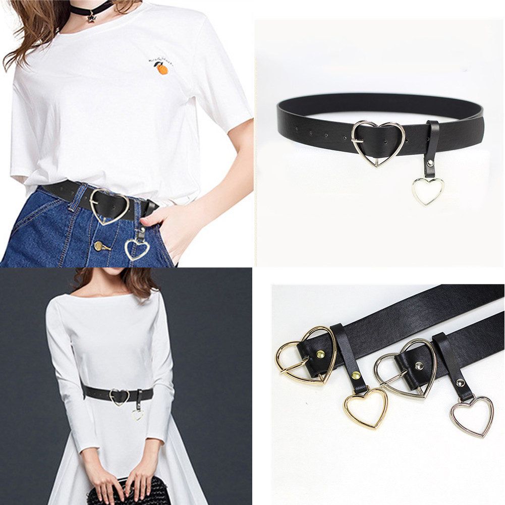 2019 New Women Belt Fashion PU Leather Metal Heart Pin Buckle Belt Party Dress Decor Female Waistband Women Belt Size 105 Cm