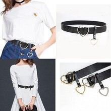 2019 New Women belt Fashion PU Leather Metal Heart Pin Buckle belt