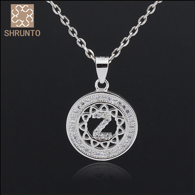 Letter Z Necklace ALP Women Men Silver Initial Letter Z Necklace Zircon Pendant Customized  Necklace