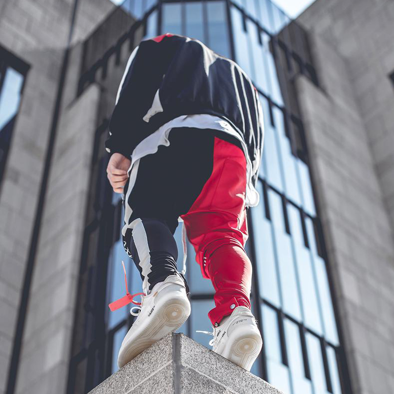 Image 2 - April MOMO 2019, Мужские штаны для бега, пэчворк, для тренажерного зала, для мужчин, для фитнеса, бодибилдинга, для тренажерного зала, штаны для бега, одежда, спортивные штаны, брюки Hombre-in Узкие брюки from Мужская одежда