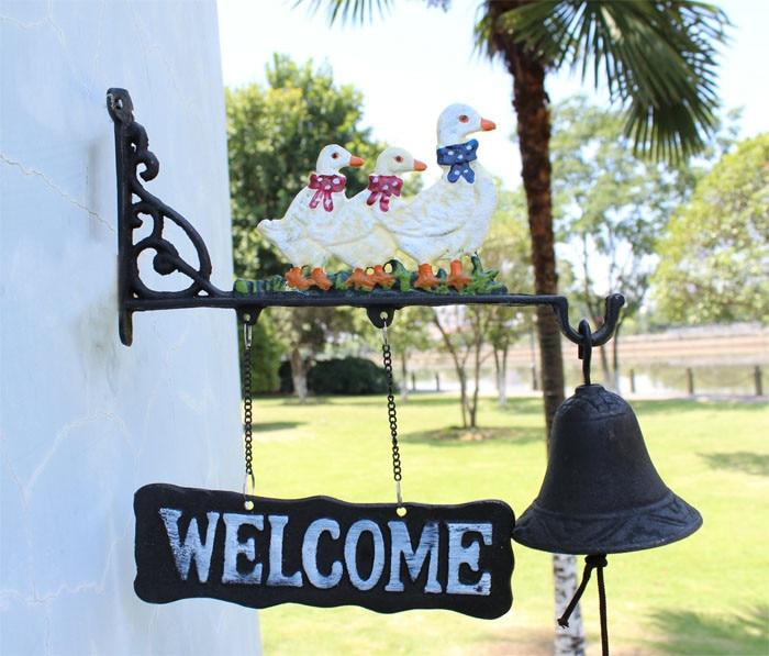 Европейский талисман кованого железа ужин колокольчик три утки Добро пожаловать Сельский садовый настенный подвесной декор Детская комната украшение дверной Звонок - 6