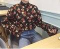 Красивая весна осень футболка с длинным рукавом женщины цветочный принт футболка сорочки femme chemisier ретро camisa mujer camiseta
