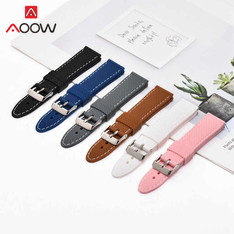 20mm 22mm 24mm Silicone Watchband for Samsung Galaxy Huawei gt Smart Watch Wave Pattern Quick Release Band Strap Accessories