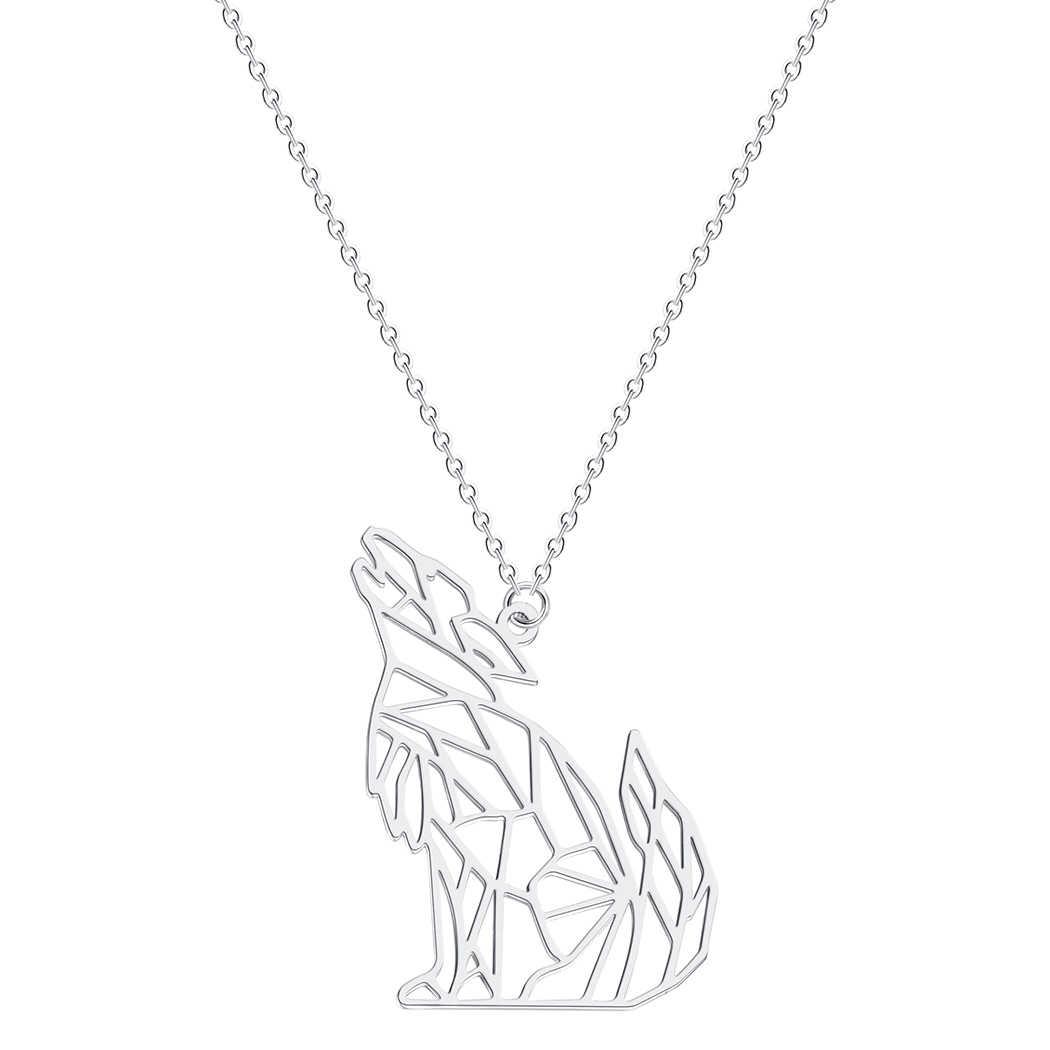 折り紙オオカミ動物のペンダントネックレス男性ステンレス鋼ジュエリーハウリングウルフネックレスミッキーネックレス男性ギフト