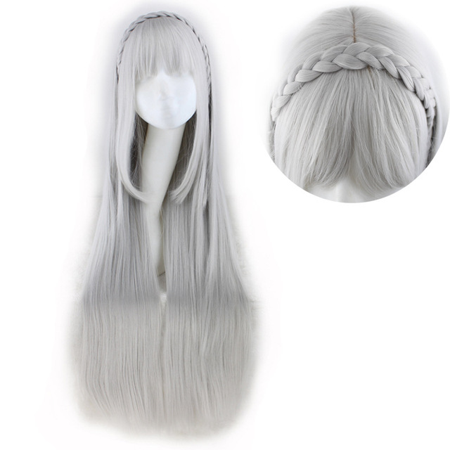 502d280a2 RE: ZERO Starting Life in Another World Emilyia Cosplay Women Long Straight  Synthetic Wigs Grey Hair Heat Resistant Costume Wig