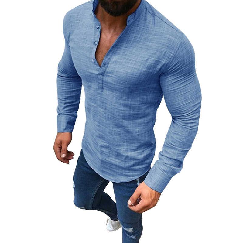2018 neue männer Slim Fit Leinen shirts Männlichen Stehkragen Sexy V-ausschnitt Baumwolle Leinen hemd Tops Herbst Lange hülse Flachs shirts 3XL