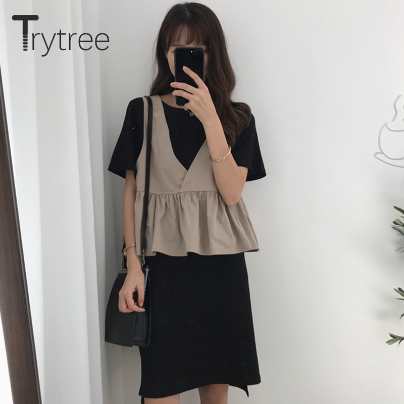 Trytree Women 2019 Summer Spring two piece Set Casual Tops + Dress Black Flare Sleeve Mesh Suit Set Women Costumes 2 Piece Se