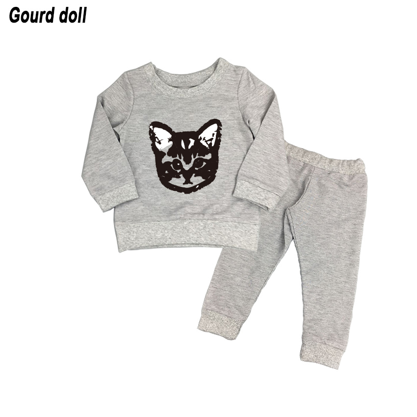 (actual photo) Newborn baby girls boys clothing sets kids cat clothes little cat baby girl and boy long sleeve cotton set