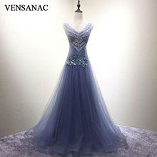VENSANAC New 2017 A Line Lace Appliques V Neck Long Evening Dresses Sleeveless Elegant Crystals Sweep Train Party Prom Gowns