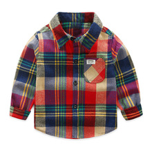 Spring New Plaids Checks Blouse Baby Kids Boys Girls Long Sleeve Striped Shirt Clothes Outfit Children Girl Top