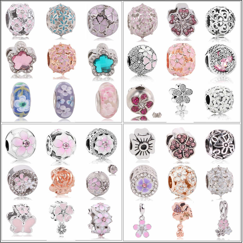 AIFEILI Fits European Pandora Charm Bracelets 2019 New 1pc Silver Spring Light Pink Magnolia Flower Clip Bead Charms
