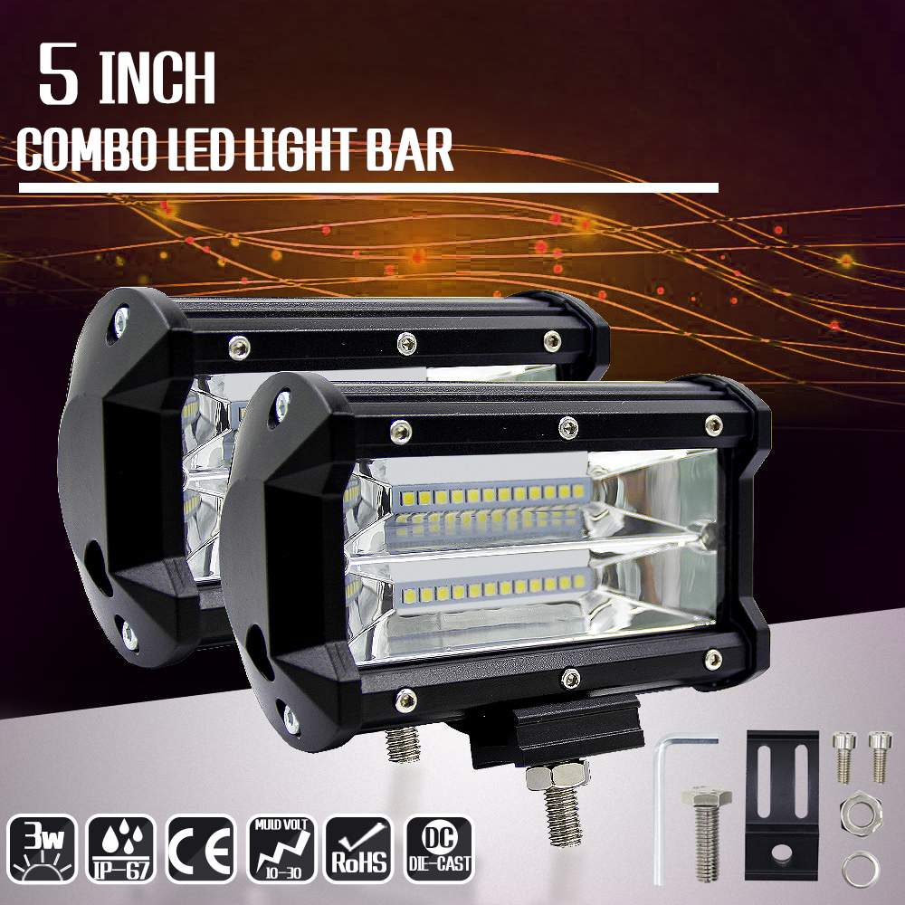 Image 4 - 72W LED Bar Spot Light Car Driving Light Bulbs For Motorcycle Tractor Off Road ATV UTV SUV Jeep DRL Led Work Light With Bracket-in Light Bar/Work Light from Automobiles & Motorcycles