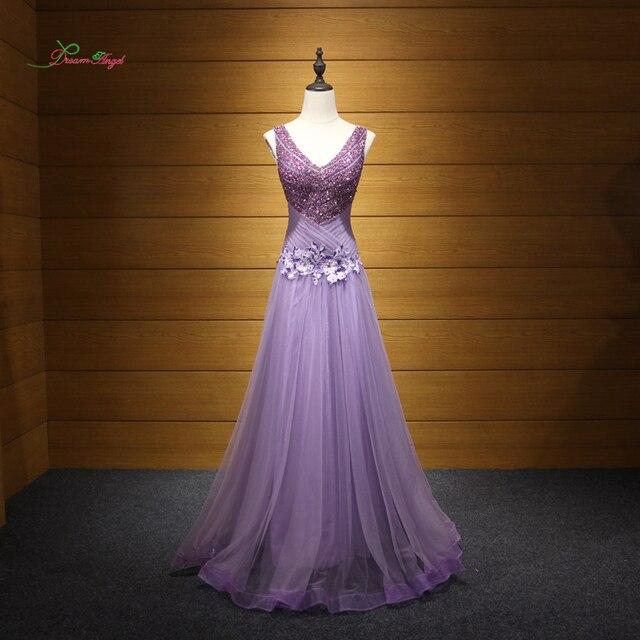 8c103c8fe Dream Angel Elegant V Neck Pleat Long Evening Dresses 2018 Appliques  Beading Formal Dress For Party Robe De Soiree Plus Size