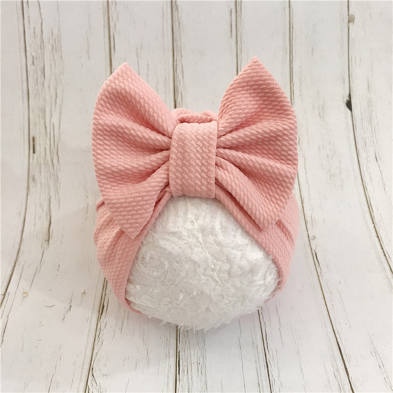 1pcs Solid Cotton Big Bow Hat Baby Kids Headbands Soft Comfortable Cat Turban Children Hair Accessories(China)