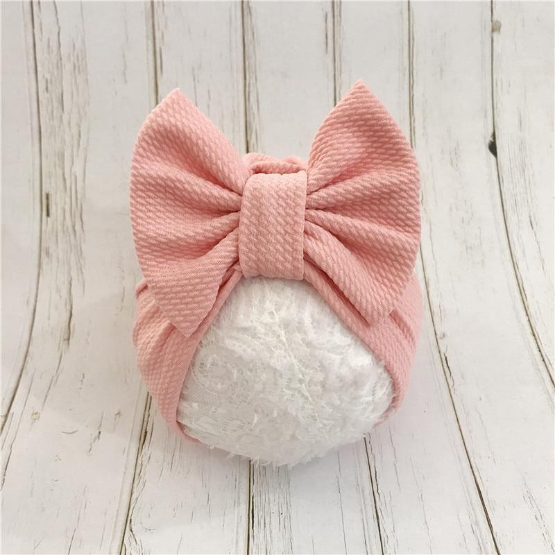 1pcs Solid Cotton Big Bow Hat Baby Kids Headbands Soft Comfortable Cat Turban Children Hair Accessories