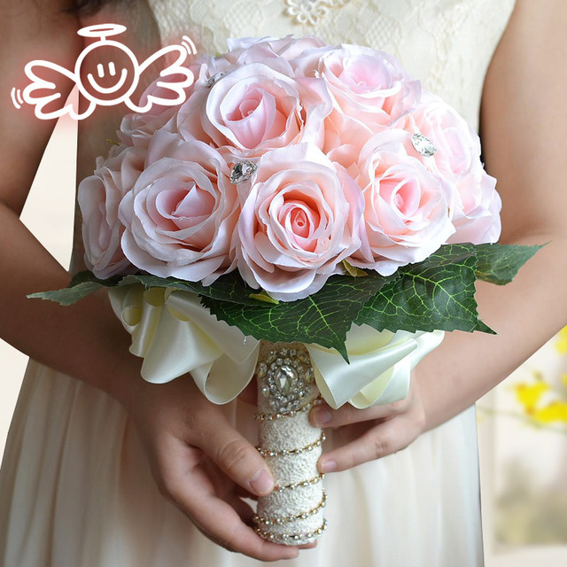 In Stock Pink Romantic Wedding Bridesmaid Rose Beading Artificial Flowers Bridal Bouquets Handmade Wedding Bouquets