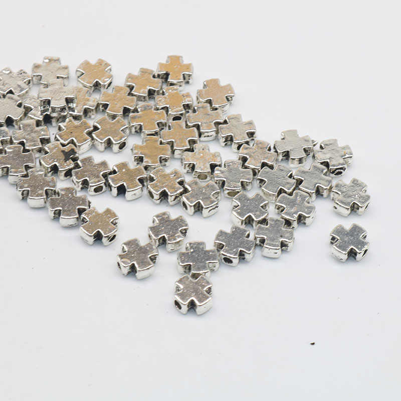 50 Pcs 7 Mm Metal Tibetaans Verzilverd Kruis Shape Kralen Losse Spacer Kralen Bedels Voor Mode-sieraden Maken Diy armband Bedels